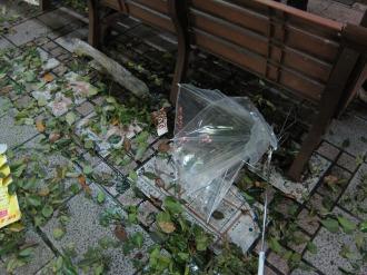 大破した傘
