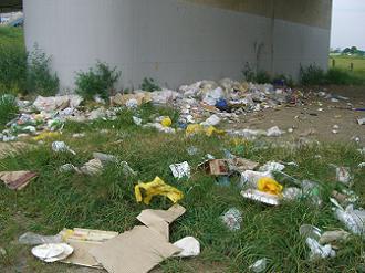 多摩川緑地に捨てられたゴミ1