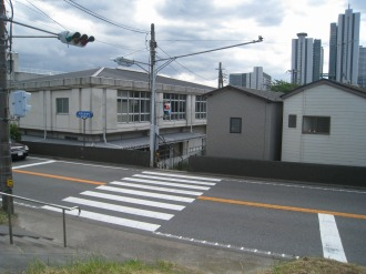 下沼部小学校裏手の横断歩道