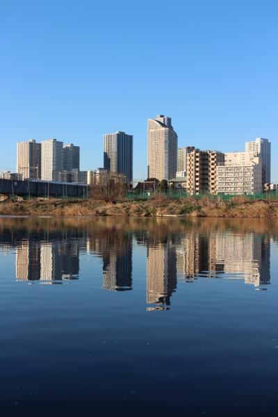 多摩川の鏡面世界
