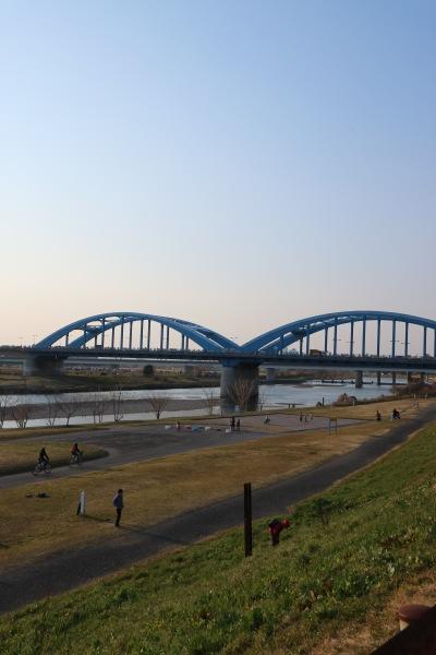 土手の上から見る丸子橋方面