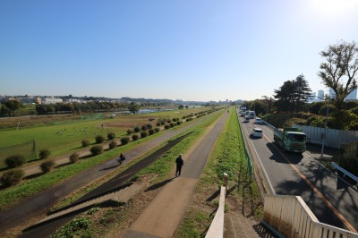 宮内歩道橋から見た丸子橋・武蔵小杉方面