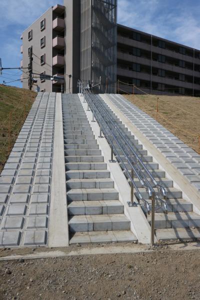 河川敷に降りる階段
