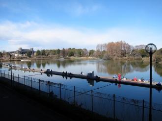スタンドから見える釣池