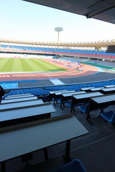 等々力陸上競技場 100mゴール前のプレス席