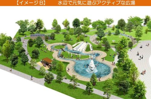 【イメージB】 水辺で元気に遊ぶアクティブな広場