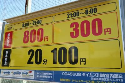 駐車場の料金表示