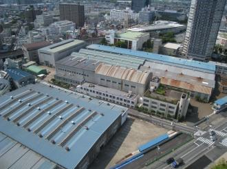 東京機械製作所と東急武蔵小杉駅の西街区・東街区方面