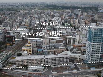 東京機械製作所オフィスビルの高さイメージ