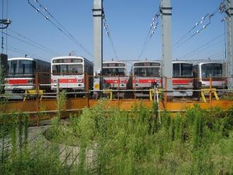検車区に並ぶ東急線の車両