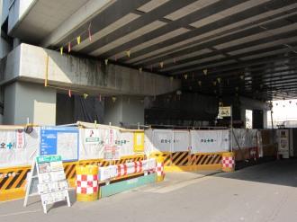 東急武蔵小杉駅ガード下のホーム延伸工事