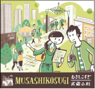 ラッピング電車「武蔵小杉駅」のイラスト
