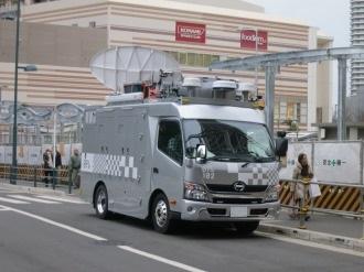 武蔵小杉駅前に来ていた日本テレビの中継車