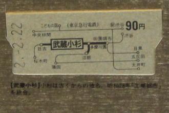 武蔵小杉駅の初乗り区間乗車券