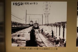 1952年 東横線武蔵小杉駅付近線路扛上工事