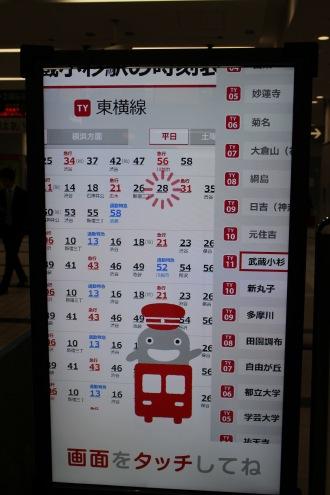 武蔵小杉駅の時刻表からの列車情報表示