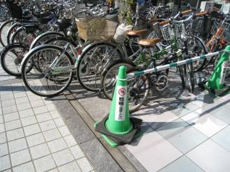 駐輪禁止のコーン