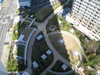 ヴェルデガーデン(円形緑地)と周辺の公開空地
