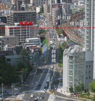 拡幅工事途上の綱島街道・上丸子跨線橋