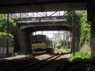 上丸子跨線橋の下をくぐる南武線