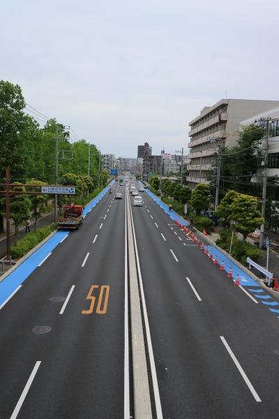 今回完成した自転車専用レーン(中原平和公園前)
