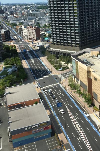 綱島街道の自転車専用レーン設置区間