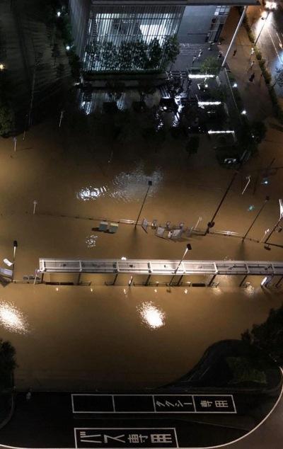 台風19号通過により武蔵小杉周辺が冠水、JR武蔵小杉新駅は設備