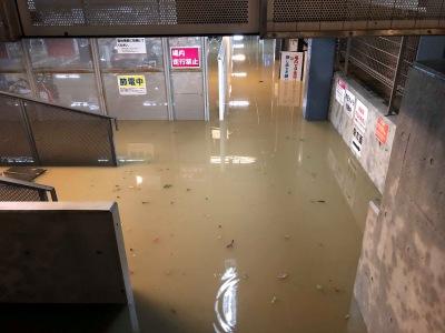 駐輪場内の冠水