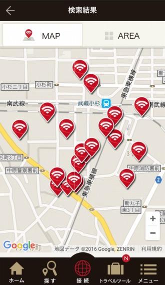 「Japan Connected-free Wi-Fi」のアクセスポイントマップ