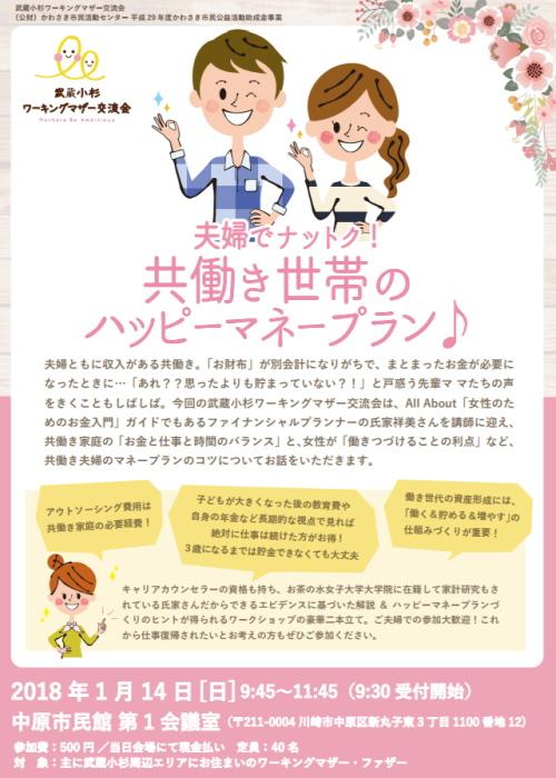 武蔵小杉ワーキングマザー交流会「夫婦でナットク!共働き世帯のハッピーマネープラン♪」