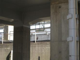 ロータリーから見る駅舎方面