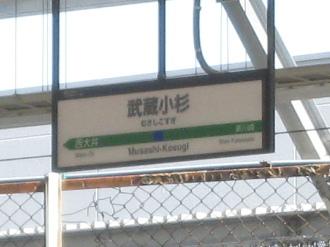 「武蔵小杉駅」の看板