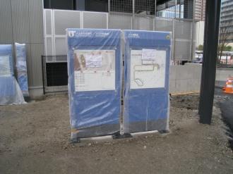 新駅ロータリーの路線バス案内板