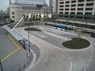 横須賀線武蔵小杉駅ロータリーの2番乗り場